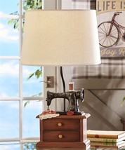 """24"""" Antique Vintage Sewing Machine Design Table Lamp with Linen Shade NEW - $139.89"""