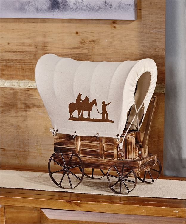 "13.4"" Western Covered Wagon Design Table Lamp - Iron, Fir Wood"