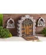 "10"" Medieval Castle Door w Cobble Stone & Drawbridge Detail w 2 Gargoyle... - $59.39"