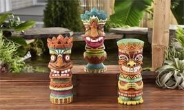 """Set of 3 -  9.8"""" Tiki Totem Design Garden Statues Polyresin w Textural Detailing"""