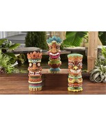 "Set of 3 -  9.8"" Tiki Totem Design Garden Statues Polyresin w Textural D... - $128.69"