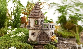 "8.9"" LED Solar Lighted Fairy Castle Design Figurine w Balcony Polyresin"