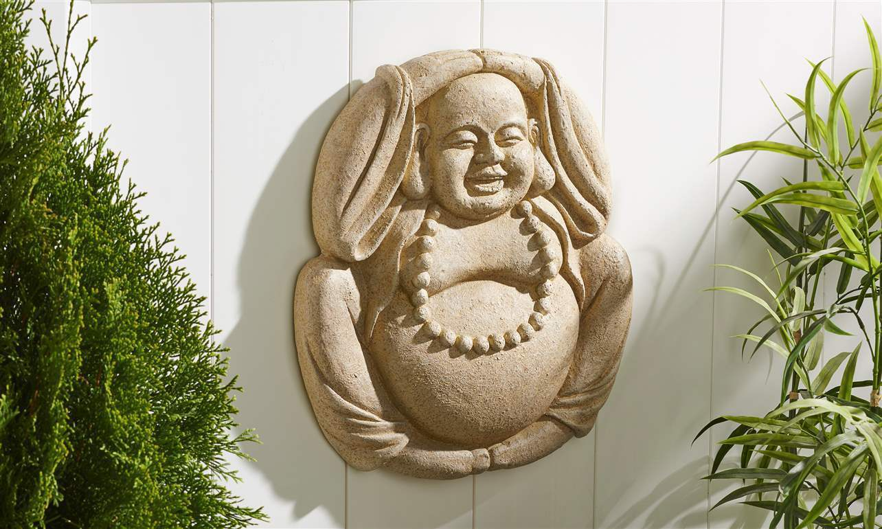 "18""  Buddha Design Cement Wall Plaque w Textural Detailing Stone Finish"