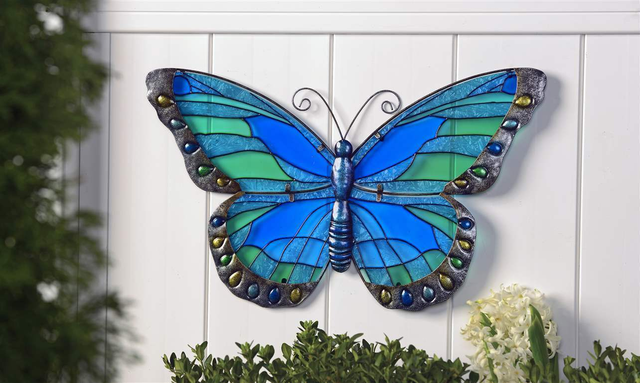 "19.9"" Blue Painted Stained Glass and Hammered Iron Butterfly Design Wall Decor"