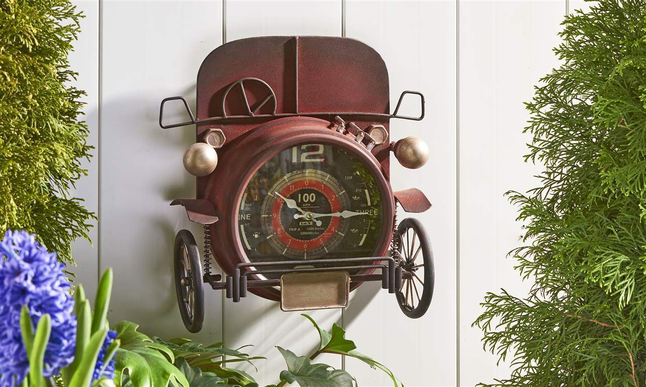 "13.8"" Vintage Red Truck Design Wall Clock -  Metal w Layered Iron Detailing NEW"