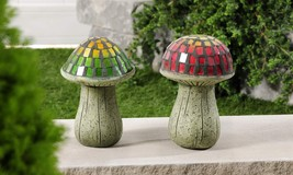 "Set of 2 - 8.5"" High Mosaic Glass & Cement Mushroom Design Garden Decor NEW"