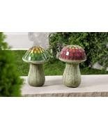 """Set of 2 - 8.5"""" High Mosaic Glass & Cement Mushroom Design Garden Decor - $74.24"""