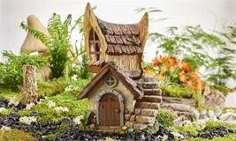"12.2"" LED Solar Lighted Fairy 2 Story House Design Figurine Woodland Chalet"