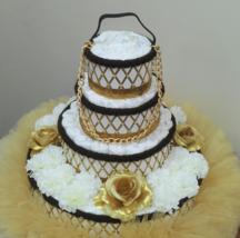 Louis Vuitton Purse Theme Baby Shower 4 Tier Gold and Brown Tutu Diaper ... - $175.00