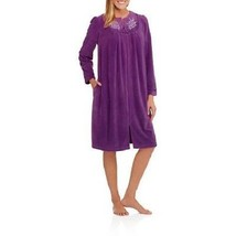 New Womens Plus Size 4X Purple Zip Front Diamond Fleece House Bath Robe Duster - $21.28
