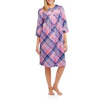 NEW WOMENS PLUS SIZE 4X PINK STRIPE PLAID ZIP FRONT WAFFLE KNIT HOUSE BA... - $21.28