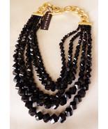Anne Klein Jet black glass beads multi row graduated cascade gold tone n... - $43.56