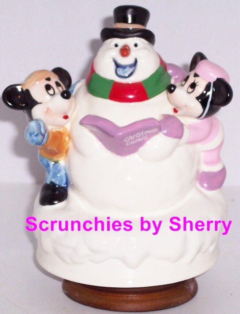 Disney Mickey Minnie Mouse Music Box Snowman Musical Schmid Limited Edition - $109.95