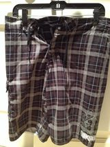 mens quiksilver brown plaid board shorts size small - $29.99