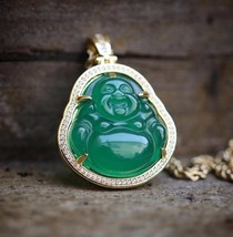Gold Green Jade Buddha Pendant Necklace With Lab Simulated Diamonds - $28.77
