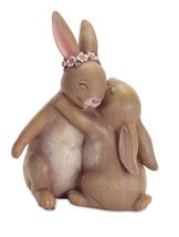 Two Bunny Rabbits Hugging Each Other Figurine