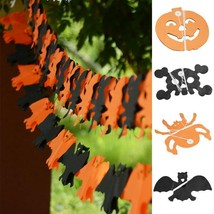 3M Halloween Party Paper Garland Pumpkin Bat Spider Skull Shape Scary De... - $5.99