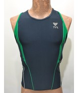 TYR Mens M Blue Green White Sleeveless Bike Cycling Jersey Form-Fitting - $30.40