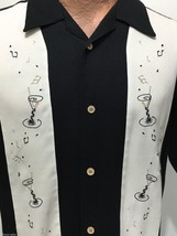 Cubavera M Black Off-White Cocktails Martinis Musical Notes Short Sleeve... - $33.86