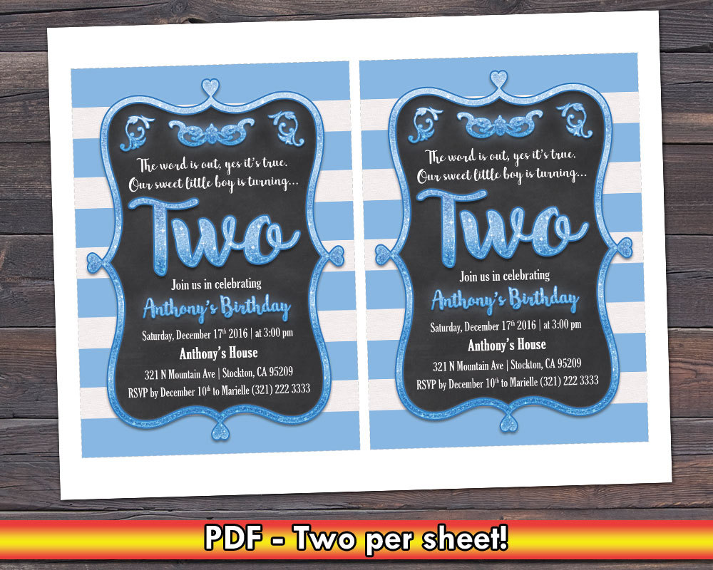 Cute Boy 2nd Birthday Party Invite And 50 Similar Items