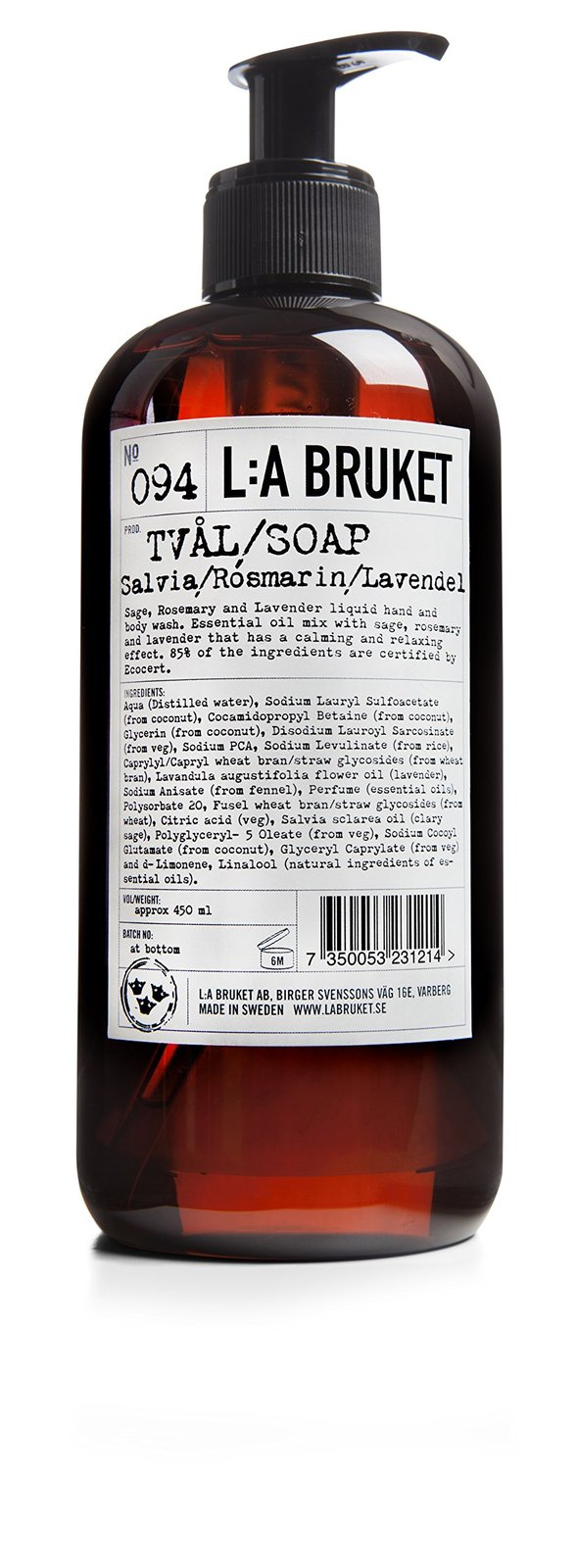 No. 094 Sage/Rosemary/Lavender Liquid Soap 450 ml by L:A Bruket