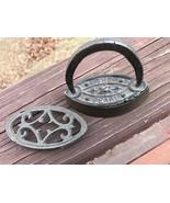 Vintage Antique Small Toy Cast Iron Original Trivet The Pearl Salesman S... - $59.39
