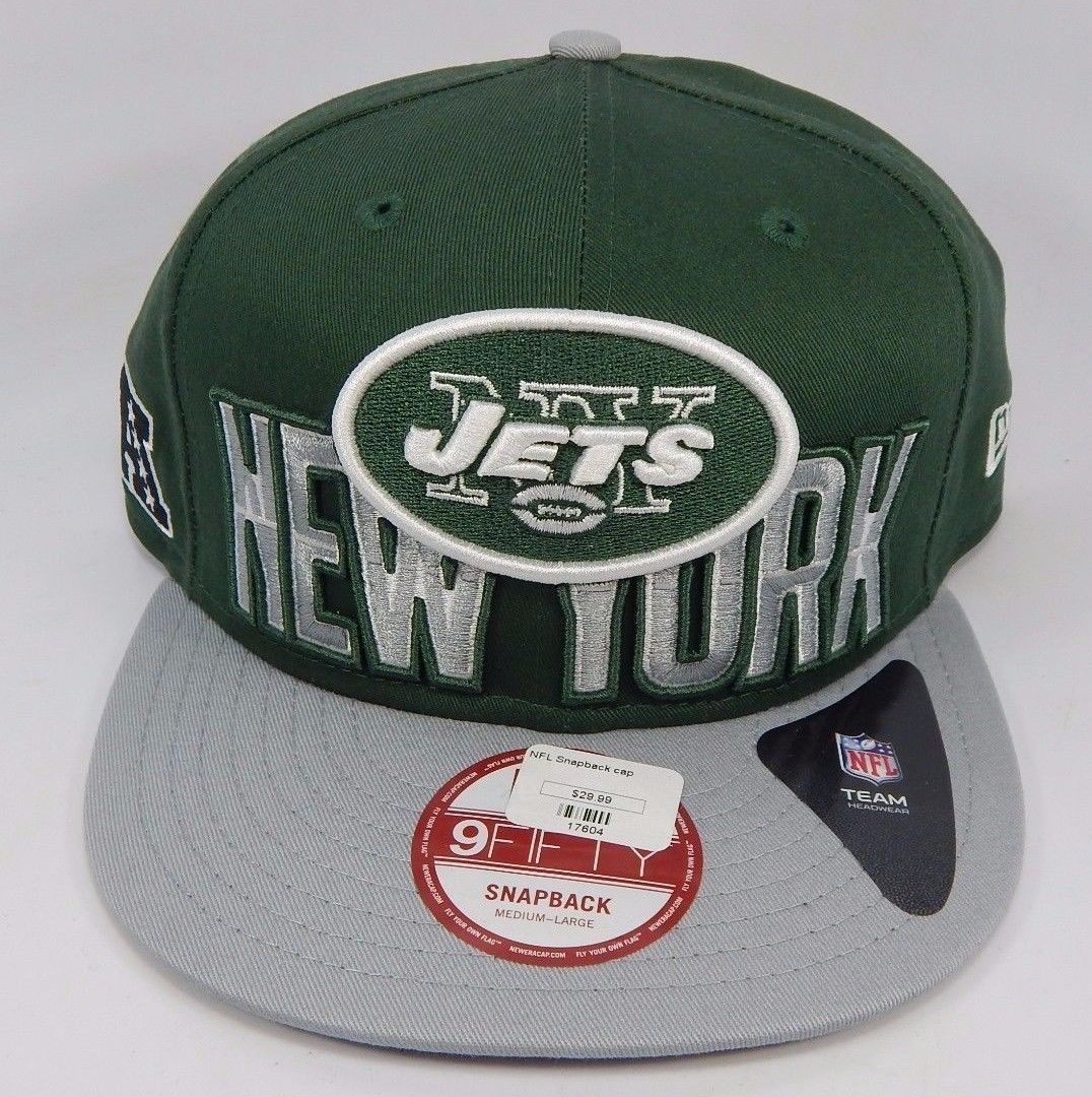 New York Jets New Era 9Fifty Medium - Large Adjustable Snap Back Cap Hat Green
