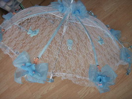 "32"" White Lace baby shower umbrella Blue booties & paci - $27.71"