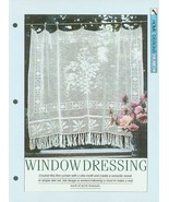Crochet pattern for filet net curtain with a central vine motif and leaf... - $1.50