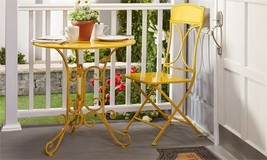 Yellow Metal Table Chair Set  Outdoor Patio Garden Pool Iron Furniture - $345.51
