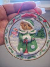 "Cherished Teddies 1996 ""The Season Of Joy"" Sculpted Plate Hanging Ornament - $16.00"
