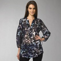 Diane Von Furstenberg Locke Sky Silhouette Navy Tunic Top Blouse - Us 8 - Uk 12 - $106.30