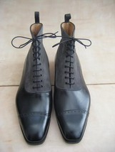Handmade Mens ankle leather boots, Men formal leather boots, Men two tone boot - $179.99