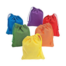 Dozen Bright Color Canvas Sacks Rectangle Shape Drawstring Bags Art Part... - $6.79