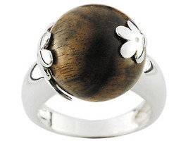 Ring Cacharel Wooden ball with flowers (CNR094M), Sterling Silver 0,925 - £34.03 GBP