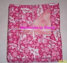 Pink Angel Print Double Flannel Blanket & Burp Cloths  Baby Girl - $34.99