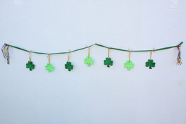 St. Patrick's Day Green Shamrock Garland Holiday Decor - Handmade - $19.99