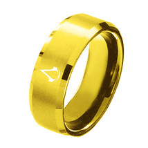 USA 8mm Assassin Creed Gold Titanium Stainless Steel Men Ring Band Size ... - $191,81 MXN