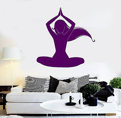 vinyl wall decal silhouette meditation woman yoga room removable wall stickers for your room in decors