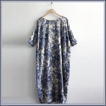 Vintage China Blue White Porcelain Antigue Print Long Cotton Linen Lounger Robe  image 2