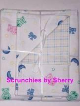 Bears & Moons Print Double Flannel Blanket & Burp Cloths  Baby Girl Boy - $34.99