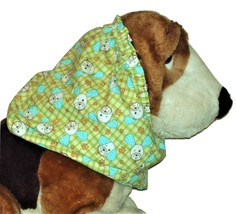 Winking Turquoise White Puppy Faces on Green Check Cotton Dog Snood  Pup... - $9.50