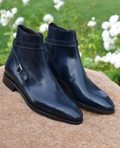 Handmade Men's Black Leather Monk Strap Buckle High Ankle Bootsf image 1
