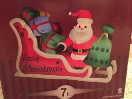 New Christmas Gemmy 7' Wide Santa And Sleigh Lighted Airblown/Inflatable... - $94.04