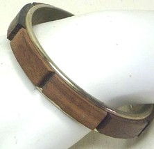 Vintage Wooden Rectangles and Gold Tone Bangle Bracelet - $3.99