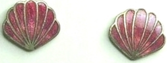 Vintage Red Shell Cloisonne & Silver Tone Metal Earrings