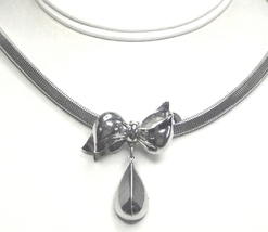 Vintage Coro Silver Tone Flexible Choker Necklace with Bow - $14.99