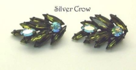 Vintage Deep Olive Green Marquise and  Clear AB Round Rhinestone Earrings - $13.99