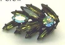 Vintage Deep Olive Green Marquise and  Clear AB Round Rhinestone Earrings