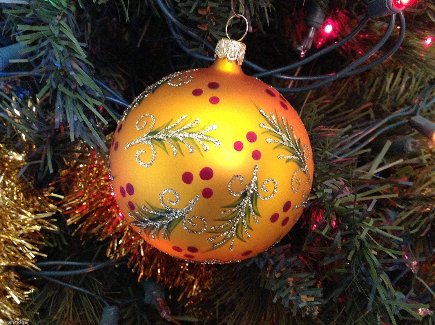Gold matte ball w mistletoe & berries Glass Ornament Old German Christmas